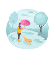 pet walking in rain woman girl and dog isometric vector image vector image