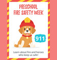 preschool fire safety week poster vector image vector image