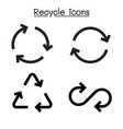 recycle icon set in flat style vector image