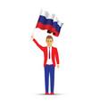 russia flag waving man and woman vector image vector image