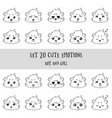 set of 20 linear funny girl cavy emoticons vector image vector image