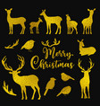 set of golden deers and birds silhouettes vector image vector image