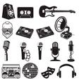 set retro party elements music instruments vector image