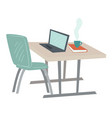 simple office interior table and laptop vector image