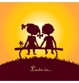 Sunset silhouettes of boy and girl vector image vector image