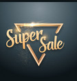 super sale lettering gold glitter effect vector image