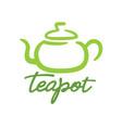 teapot traditional logo green design icon vector image