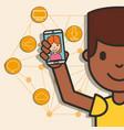 teen boy holding smartphone girl on screen vector image vector image