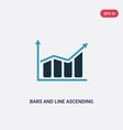 two color bars and line ascending data vector image vector image