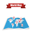 world map with shadow and pointers vector image