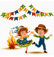 young couple man woman dancing salsa on festivals vector image vector image