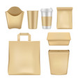 realistic fast food package set vector image