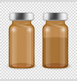 3d realistic brown bottles vaccine icon vector image