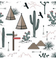 adventure seamless pattern with wild desert nature vector image vector image