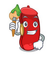 artist character red beans for cooking ingredients vector image