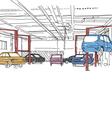 Auto service interior design vector image vector image