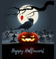 card with evil pumpkin with raven on it vector image