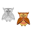 Cartoon brown owl bird with striped body vector image vector image