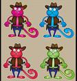 cartoon cowboy cat with gun vector image vector image