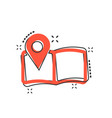 cartoon pin on the map icon in comic style map vector image vector image