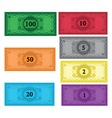 cartoon set of money vector image vector image