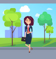 cheerful lady on summer street colorful poster vector image vector image