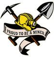 coal miner hat shovel spade pickax mining vector image vector image