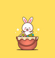 cute rabbit sitting in basket with eggs happy vector image vector image