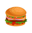 delicious burger with cutlet cheese fresh vector image