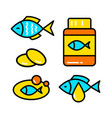 fish oil icon set vector image vector image