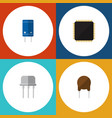 flat icon electronics set of resist cpu triode vector image vector image
