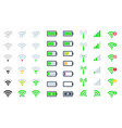 flat mobile phone system icons wifi signal vector image