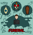 funeral flat concept icons vector image