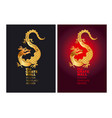 golden dragon poster design color templates vector image