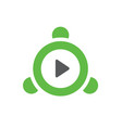 green video player logo or icon vector image
