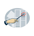 Hand With Pointer Pointing Data Sheet Retro vector image vector image