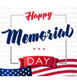 happy memorial day usa flag light banner vector image vector image