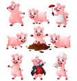 happy pig cartoon collection set vector image