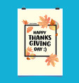 happy thanksgiving with autumn leaves background vector image vector image