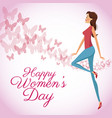 happy womens day card butterfly decorated vector image