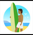 icon activty on ocean sea summer man with surfing vector image