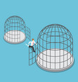 isometric businessman leave small cage go to the vector image