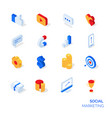 isometric social marketing icons set vector image vector image