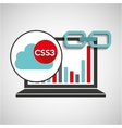 laptop graphs cloud css3 link web vector image vector image
