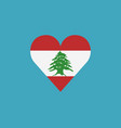 lebanon flag icon in a heart shape in flat design vector image vector image