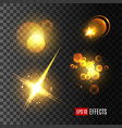 light effect set of golden glitter star sun beam vector image vector image