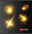 light effect set of golden glitter star sun beam vector image