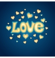 Love lettering against background with hearts vector image vector image