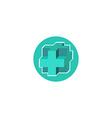 mockup medical logo 3d blue cross sign hospital vector image vector image