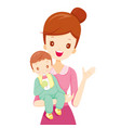 mother embracing baby with feeding bottle vector image vector image